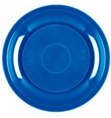 Assiette Plastique Plate Bleu Mediterranée Round PP Ø220mm (600 Utés)