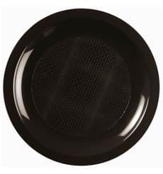 Assiette Plastique Plate Noir Round PP Ø185mm (50 Utés)