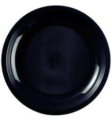 Assiette Plastique Réutilisable Plate Noir PP Ø220mm (50 Utés)