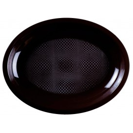 Plateau Plastique Réutilisable Ovale Noir PP 315x220mm (25 Utés)