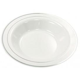 Plastic bord Extra stijf Diep met border zilver 23cm (20 stuks)