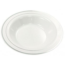 Plastic bord Extra stijf Diep met border zilver 23cm (200 stuks)