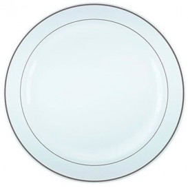 Plastic bord Extra stijf met Ovale rand zilver 26cm (20 stuks)