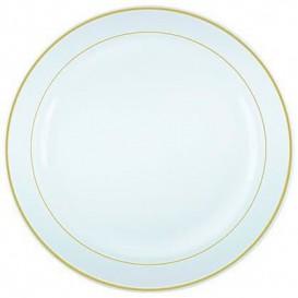 Assiette en Plastique Dur avec Liseré Or 15cm (20 Utés)