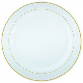 Plastic bord Extra stijf met Ovale rand goud 15cm (20 stuks)