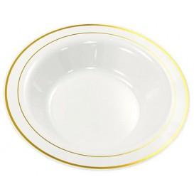 Plastic bord Extra stijf Diep met border goud 23cm (20 stuks)