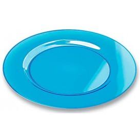 Plastic bord Rond vormig extra sterk turkoois 26cm (6 stuks)