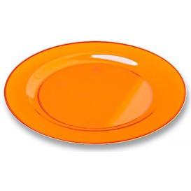 Plastic bord Rond vormig extra sterk oranje 19cm (10 stuks)
