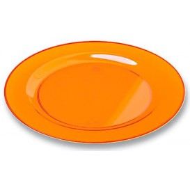 Plastic bord Rond vormig extra sterk oranje 23cm (6 stuks)