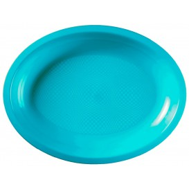 Plateau Ovale Turquoise Round PP 255x190mm (50 Utés)