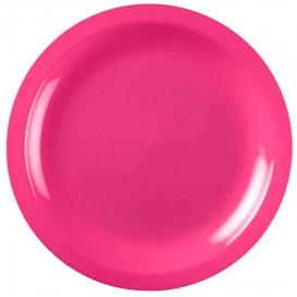 """Plastic bord Plat fuchsia """"Rond vormig"""" PP Ø18,5 cm (600 stuks)"""