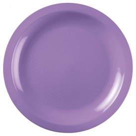 "Plastic bord Plat lila ""Rond vormig"" PP Ø22 cm (50 stuks)"