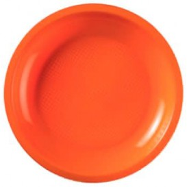 Assiette Plastique Réutilisable Plate Orange PP Ø220mm (600 Utés)