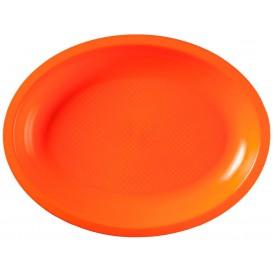 Plateau Plastique Réutilisable Ovale Orange PP 315x220mm (25 Utés)