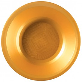 Assiette Plastique Réutilisable Creuse Doré PP Ø195mm (25 Utés)