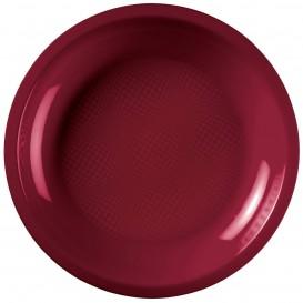 Assiette Plastique Réutilisable Plate Bordeaux PP Ø220mm (600 Utés)