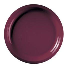 Assiette Plastique Réutilisable Bordeaux PP Ø290mm (25 Utés)