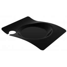 """Assiette Plastique """"Forma"""" Avec Support Noir 22x18 cm (180 Utés)"""