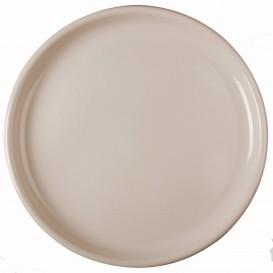 """Plastic bord voor Pizza beige """"Rond vormig"""" PP Ø35 cm (144 stuks)"""