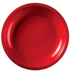 Assiette Plastique Réutilisable Plate Rouge PP Ø220mm (50 Utés)