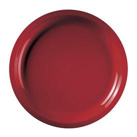 Assiette Plastique Réutilisable Rouge PP Ø290mm (300 Utés)