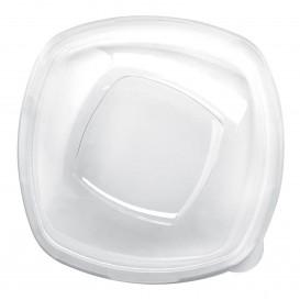"Plastic PET Deksel Kristal ""Vierkant"" Ø21cm (3 stuks)"