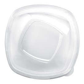 "Plastic PET Deksel Kristal ""Vierkant"" Ø21cm (60 stuks)"