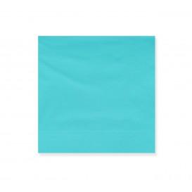Papieren servet turkoois rand 20x20cm 2C (100 stuks)