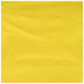 Papieren servet gele rand 25x25cm 2C (200 stuks)
