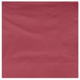 Papieren servet bordeauxrode rand 25x25cm 2C (3400 stuks)