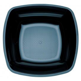 Plastic bord Diep zwart Vierkant PS 18 cm (300 stuks)