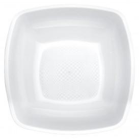 Plastic bord Diep wit Vierkant PP 18 cm (25 stuks)