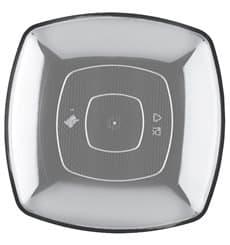 Assiette Plastique Plate Transp. Square PS 230mm (300 Utés)