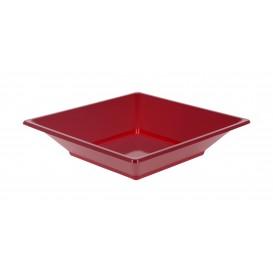 Plastic bord Diep Vierkant bordeauxrood 17 cm (6 stuks)