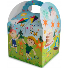 Papieren kindermaaltijd doos Parten 1,31x1,31x1,15cm (25 stuks)