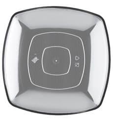 Assiette Plastique Plate Transp. Square PS 300mm (12 Utés)