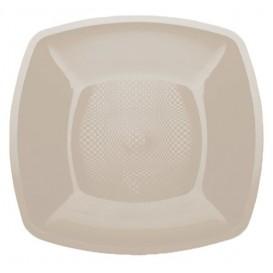 Plastic bord Plat beige Vierkant PP 18 cm (25 stuks)