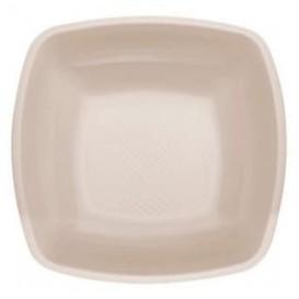 Plastic bord Diep beige Vierkant PP 18 cm (25 stuks)