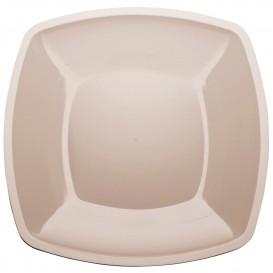 Plastic bord Plat beige Vierkant PS 30 cm (144 stuks)