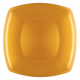 Assiette Plastique Réutilisable Plate Or PS 300mm (144 Utés)