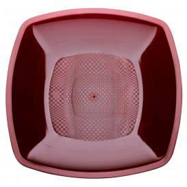 Assiette Plastique Réutilisable Bordeaux PP 230mm (25 Utés)
