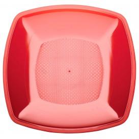 Plastic bord Plat rood Vierkant PS 18 cm (25 stuks)