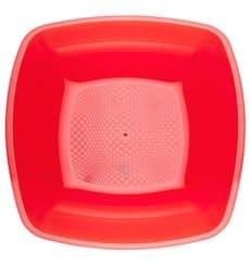 Assiette Plastique Creuse Rouge Transp. Square PS 180mm (25 Utés)