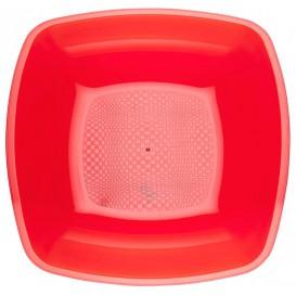 Plastic bord Diep rood Vierkant PS 18 cm (300 stuks)