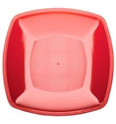 Assiette Plastique Réutilisable Plate Rouge Transp.  PS 230mm (25 Utés)