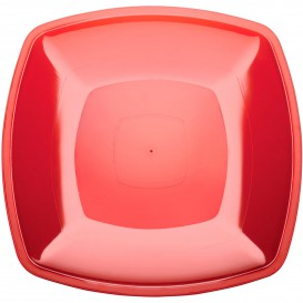 Plastic bord Plat rood Vierkant PS 30 cm (12 stuks)