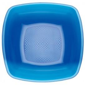Assiette Plastique Creuse Bleu Transp. Square PS 180mm (25 Utés)