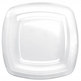 Plastic Deksel transparant voor bord Vierkant PET 18 cm (25 stuks)