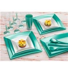 Assiette Plastique Réutilisable Creuse Argentée Pearl PP 180mm (25 Utés)