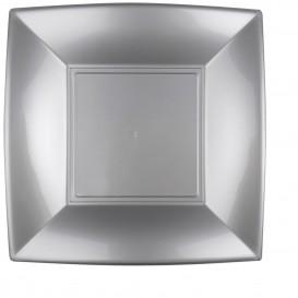 "Plastic bord Plat grijs ""Nice"" PP 29 cm (12 stuks)"